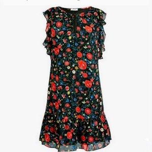 NEW J Crew Factory Printed Dark Floral Lined Dress